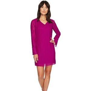 V-Neck Crystal Pleated Dress - Berry